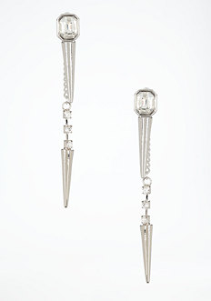 bebe Front to Back Stone & Spike Earring