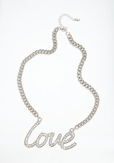 bebe Chainlink & Love Script Necklace