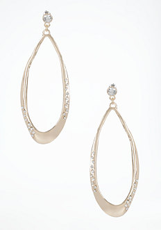 bebe Stone Oval Hoop Earrings