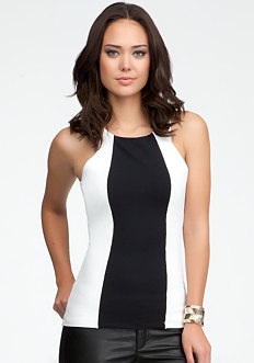 Colorblock Mesh Tank - ONLINE EXCLUSIVE at bebe