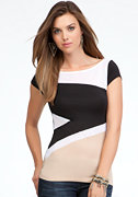 Colorblock Mesh Panel Tee at bebe