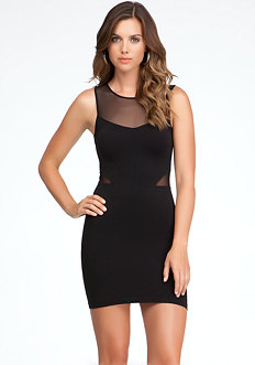 bebe Mesh Yoke Inset Dress