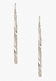 bebe Twisted Bar & Crystal Earrings