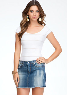 bebe Sheer Textured Stripe Tee