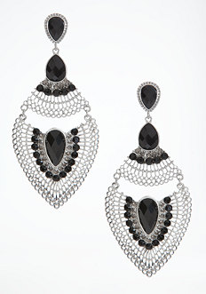 bebe Faceted Stone Teardrop Earrings