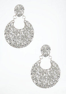 bebe Hammered Disc Statement Earrings