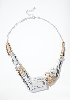 bebe Asymmetric Hammered Metal Necklace