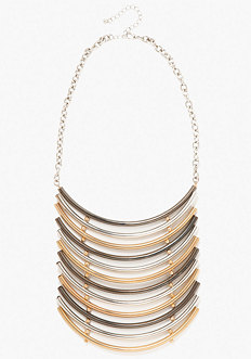 bebe Mixed Metal Bar Statement Necklace