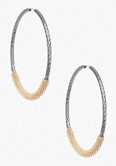 Wrapped Chain Hoop Earrings at bebe