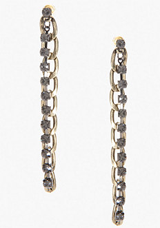 bebe Chainlink & Stone Linear Earrings