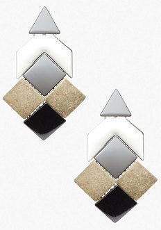 bebe Mixed Metal Geometric Statement Earrings