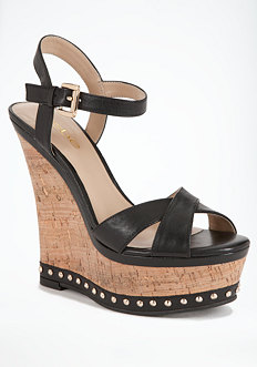 bebe Shelly Cork Studded Wedge