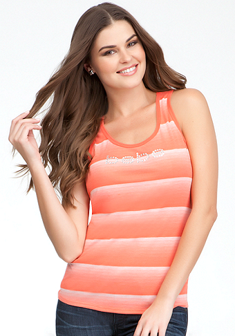 Logo Stripe Circle Back Tank - ONLINE EXCLUSIVE at bebe