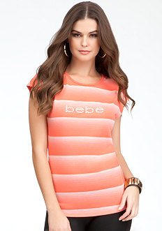 Logo Stripe Cutout Top - ONLINE EXCLUSIVE at bebe