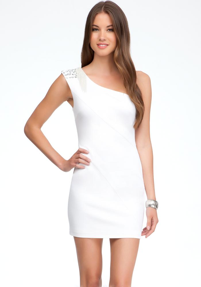 Embellished Shoulder Sequin Dress