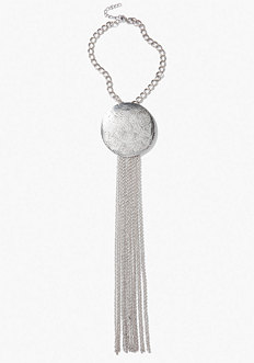 bebe Textured Disc & Chain Necklace