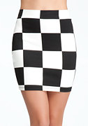 bebe Checkerboard Mini Skirt