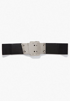 bebe Wide Metal Buckle Belt