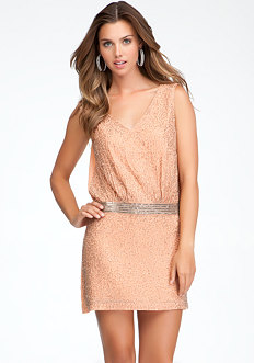 V-Neck Beaded Shift Dress - ONLINE EXCLUSIVE at bebe