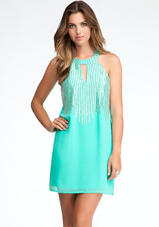 bebe Beaded Halter Dress - ONLINE EXCLUSIVE