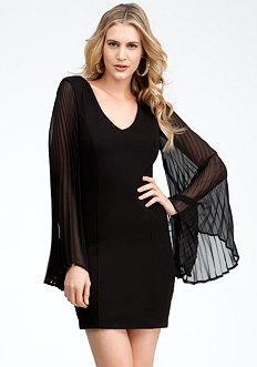 Pleated Fan Sleeve Dress - ONLINE EXCLUSIVE at bebe