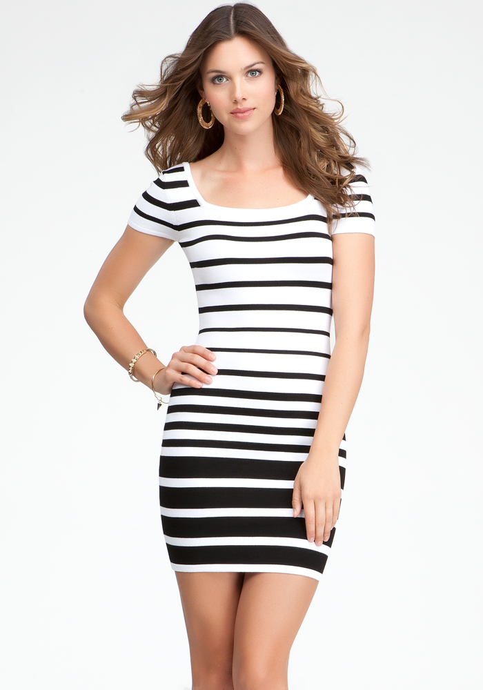 Cap Sleeve Multi Stripe Dress