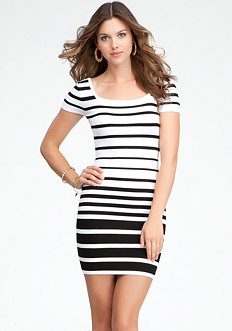 bebe Cap Sleeve Multi Stripe Dress