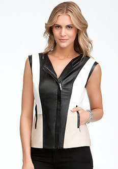bebe Colorblock Leather Vest