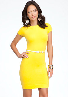 bebe Belted Sweater Dress - ONLINE EXCLUSIVE