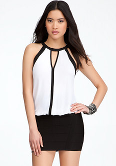 bebe Colorblock Halter Top