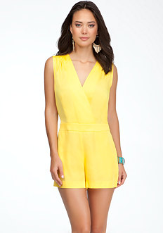 bebe Surplice Open Back Romper