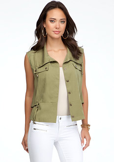 bebe Sleeveless Cape Back Vest