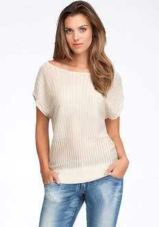 bebe Sheer Yoke Stripe Sweater - ONLINE EXCLUSIVE