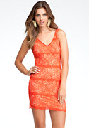 bebe Betsy Border V-Neck Lace Dress