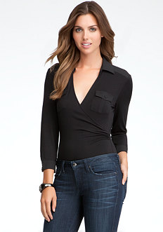 bebe Surplice Collared Pocket Bodysuit