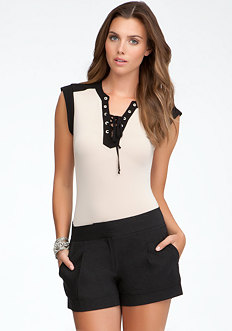 bebe Lace Up Neck Bodysuit