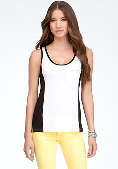bebe Logo Colorblock High Low Tank