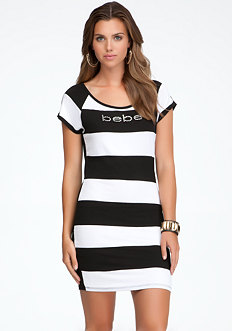 bebe Logo Rugby Stripe Tee Dress