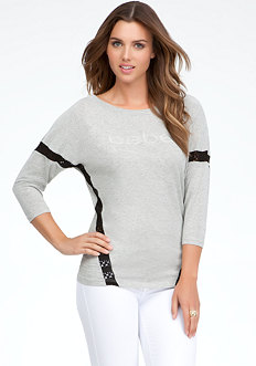bebe Crochet Stripe High Low Top
