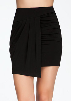 bebe Asymmetric Jersey Wrap Mini Skirt