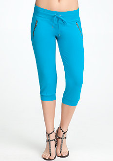 bebe Logo Exposed Zipper Capri - ONLINE EXCLUSIVE