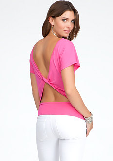 bebe Twisted Back Top