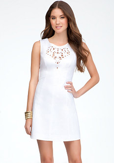 bebe Embroidered Fit & Flare Dress
