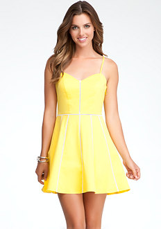 bebe Gabriella V-Neck Fit & Flare Dress