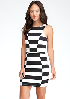 bebe Contrast Stripe Power Knit Dress