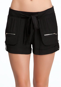 Soft Cargo Tie Shorts at bebe