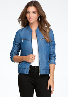 bebe Lightweight Denim Bomber Jacket