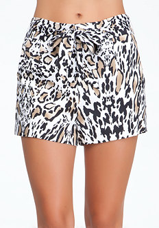 bebe Leopard Print Wrap Around Shorts