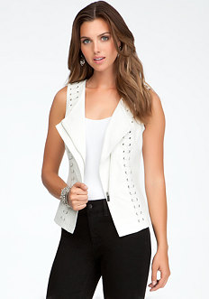 bebe Lace Up Drape Front Vest