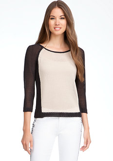 bebe Colorblock Cord Yarn Top